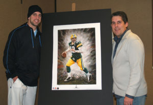 Aaron Rodgers with Artist Andrew Goralski